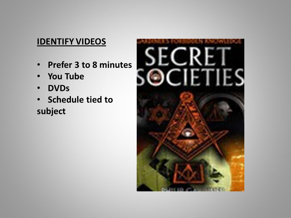 IDENTIFY VIDEOS Prefer 3 to 8 minutes You Tube DVDs Schedule tied to subject