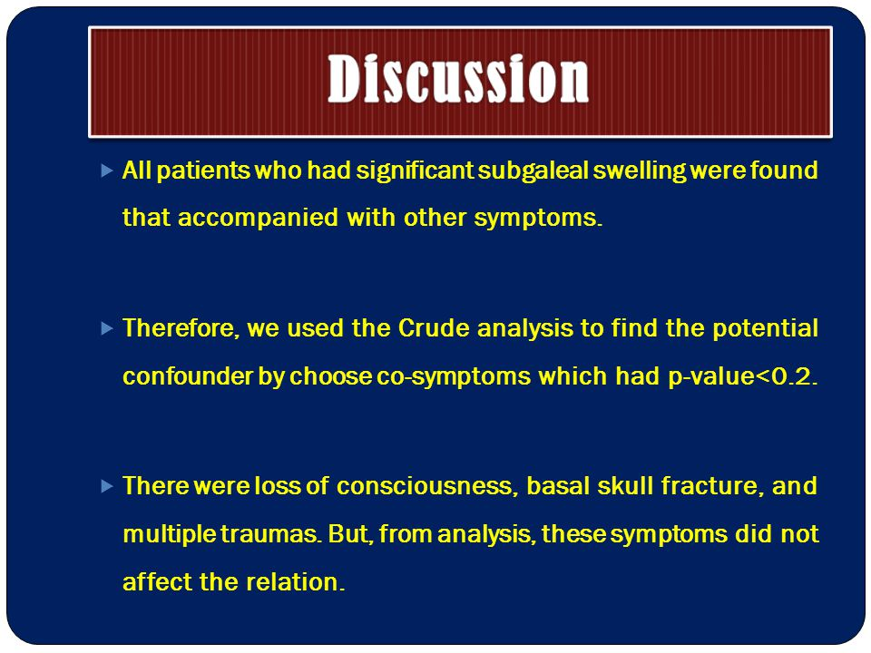  All patients who had significant subgaleal swelling were found that accompanied with other symptoms.