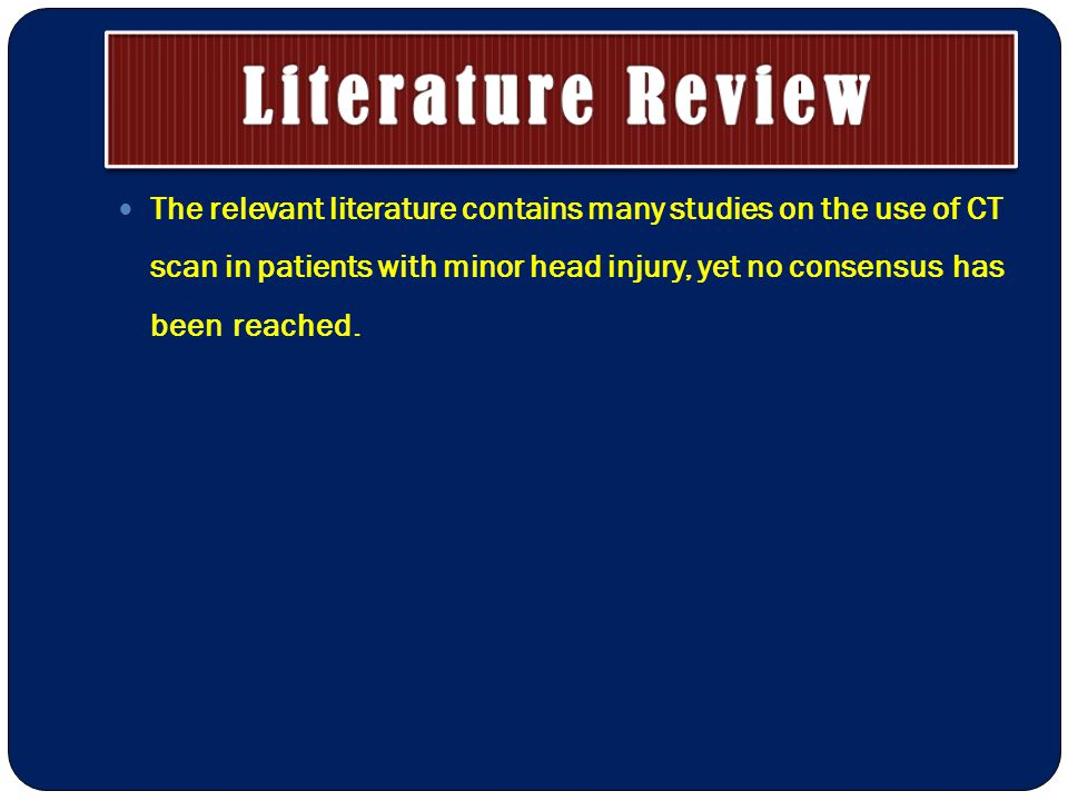 The relevant literature contains many studies on the use of CT scan in patients with minor head injury, yet no consensus has been reached.