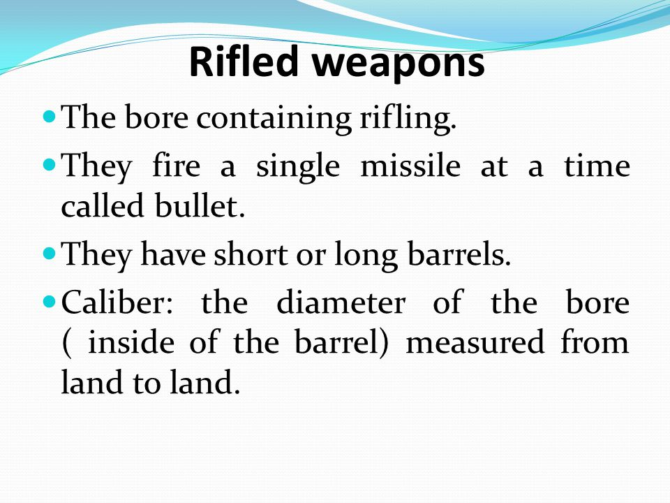 The type of firearm can be identified from: A- nature of the inlet wound.