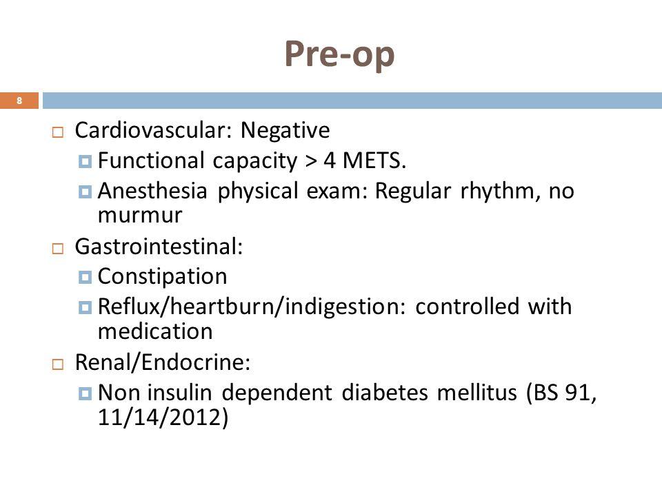 Pre-op 8  Cardiovascular: Negative  Functional capacity > 4 METS.