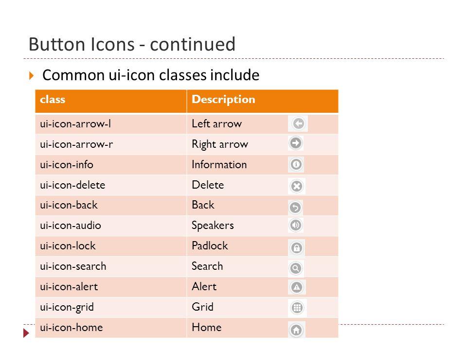 Button Icons - continued 15  Common ui-icon classes include classDescription ui-icon-arrow-lLeft arrow ui-icon-arrow-rRight arrow ui-icon-infoInformation ui-icon-deleteDelete ui-icon-backBack ui-icon-audioSpeakers ui-icon-lockPadlock ui-icon-searchSearch ui-icon-alertAlert ui-icon-gridGrid ui-icon-homeHome