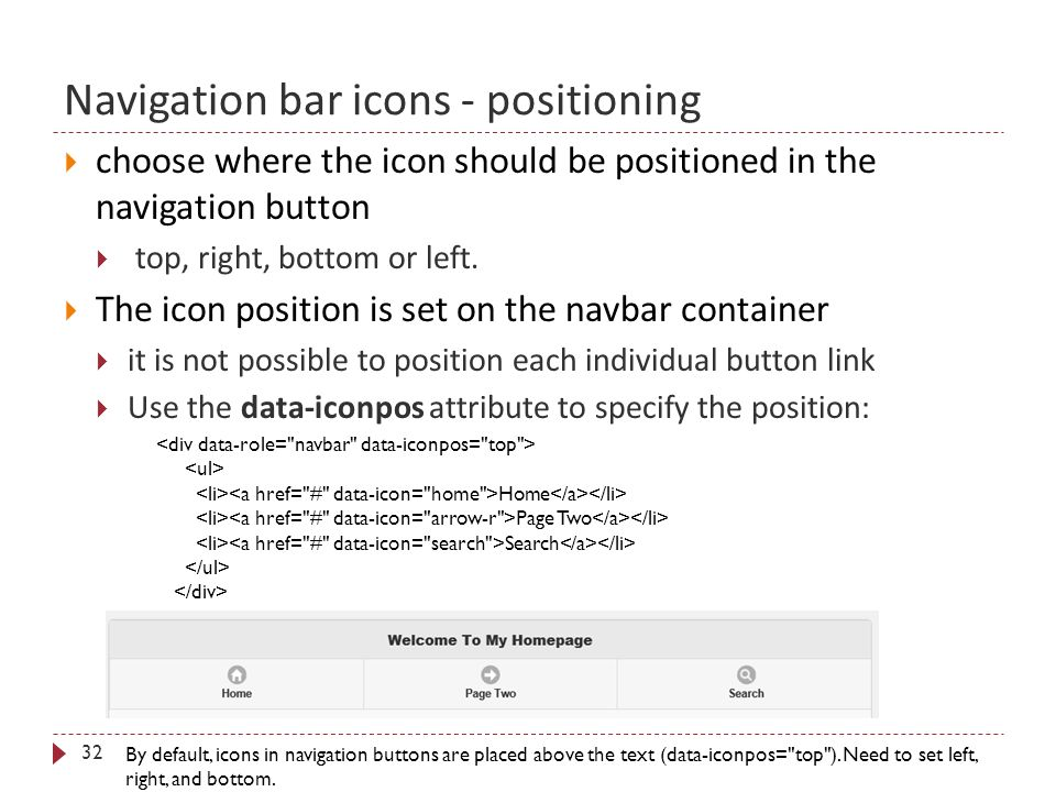 Navigation bar icons - positioning 32  choose where the icon should be positioned in the navigation button  top, right, bottom or left.