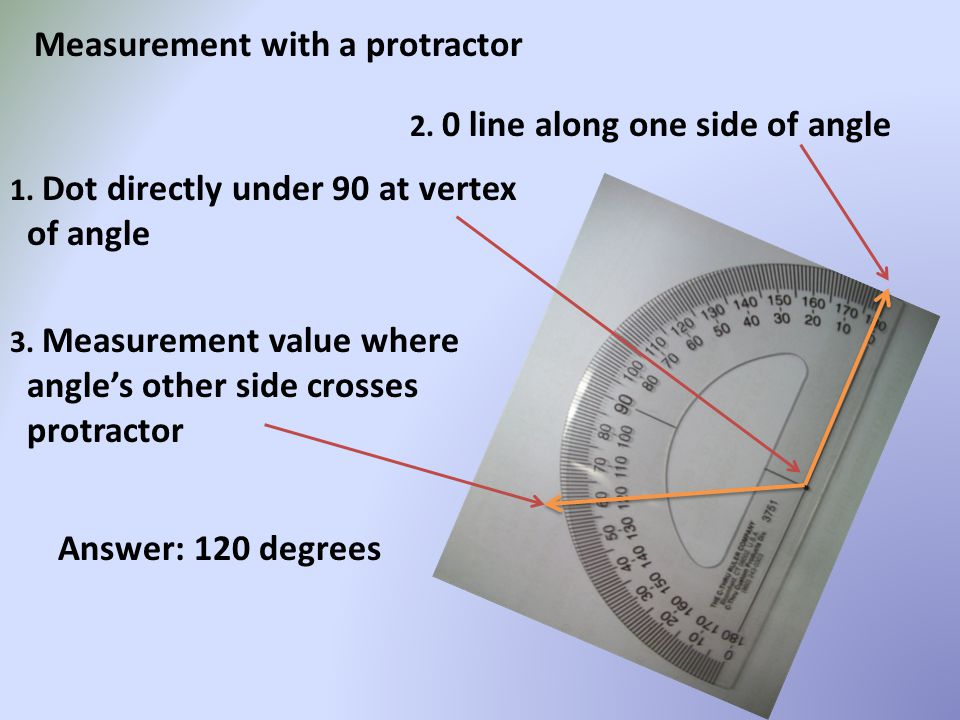 Measurement with a protractor 1. Dot directly under 90 at vertex of angle 2. 0 line along one side of angle 3. Measurement value where angle's other s