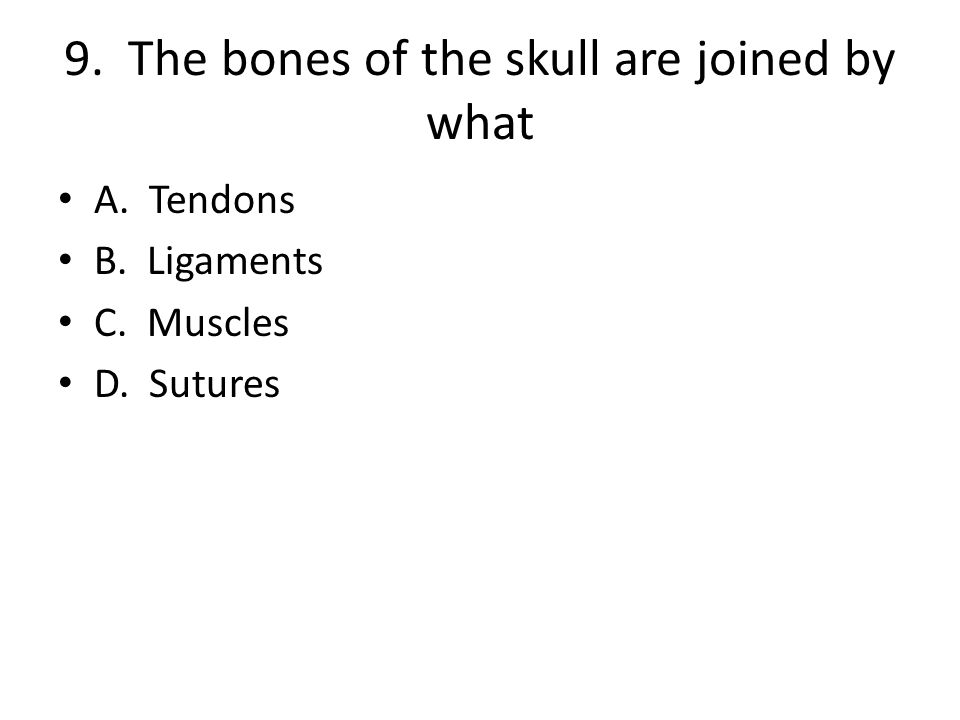 9. The bones of the skull are joined by what A. Tendons B. Ligaments C. Muscles D. Sutures
