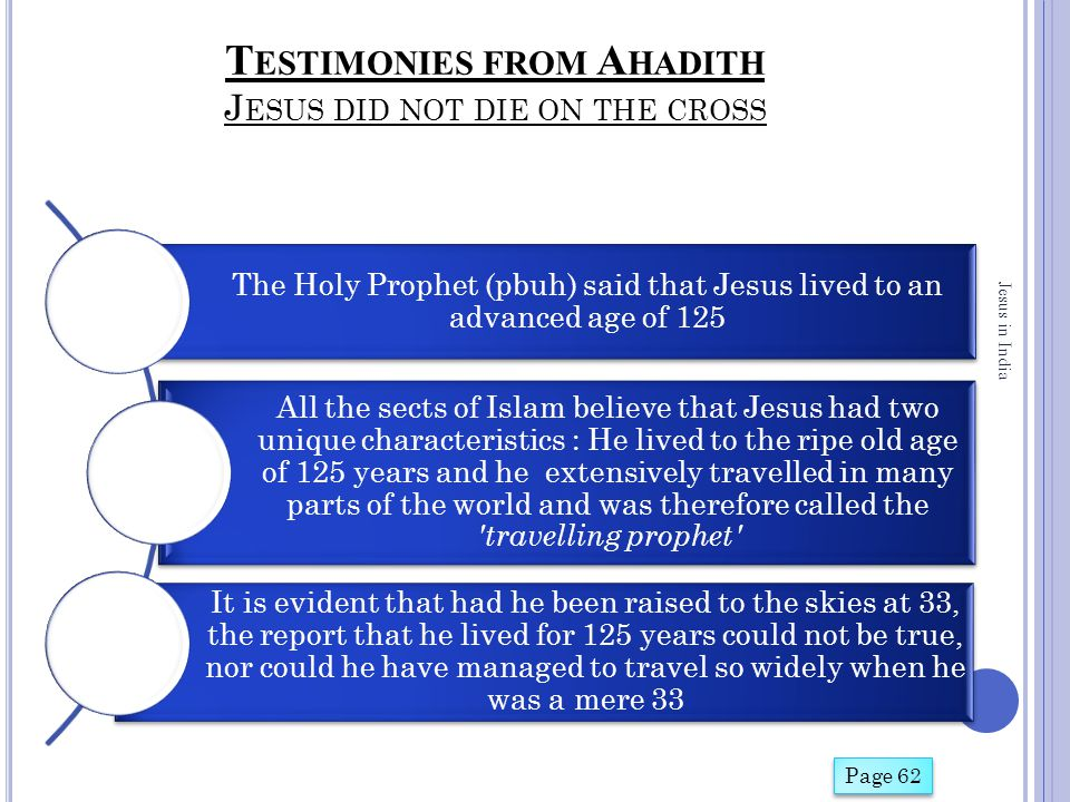 T ESTIMONIES FROM A HADITH J ESUS DID NOT DIE ON THE CROSS The Holy Prophet (pbuh) said that Jesus lived to an advanced age of 125 All the sects of Is
