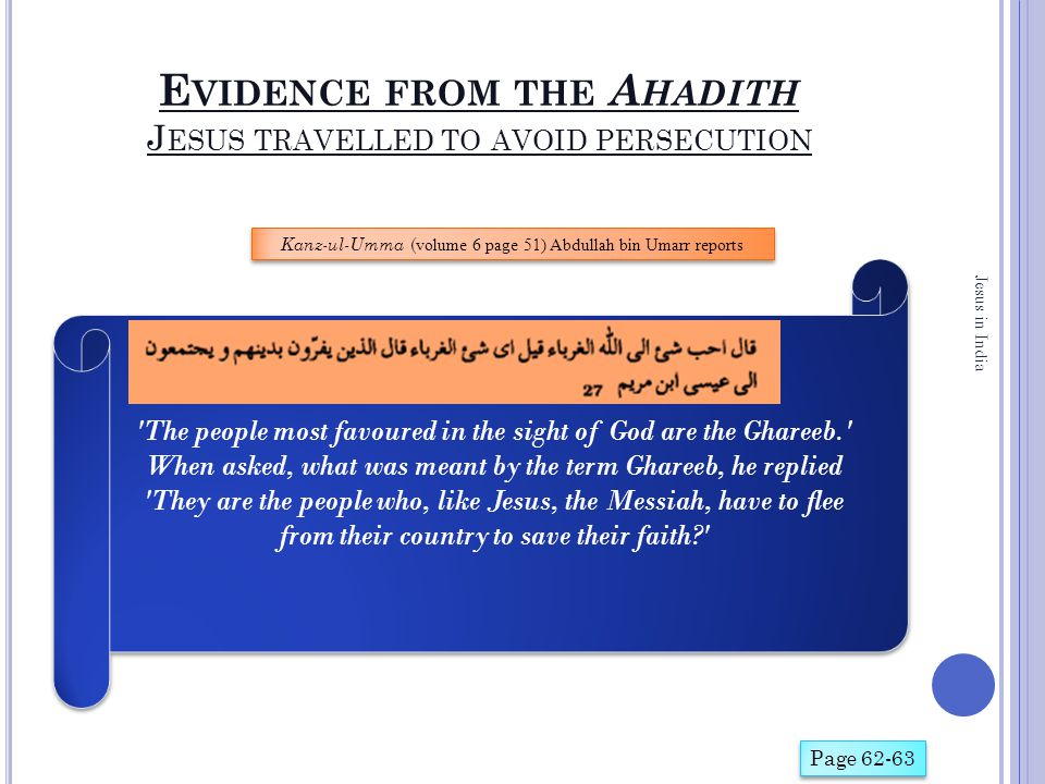 E VIDENCE FROM THE A HADITH J ESUS TRAVELLED TO AVOID PERSECUTION Jesus in India Page 62-63 'The people most favoured in the sight of God are the Ghar
