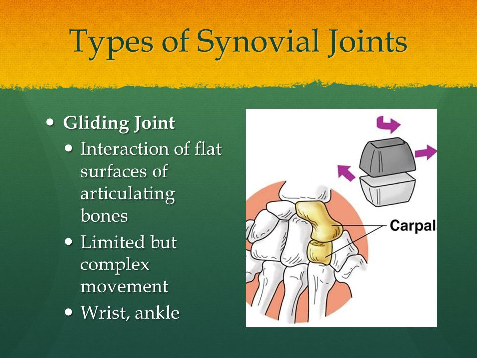 Types of Synovial Joints Gliding Joint Gliding Joint Interaction of flat surfaces of articulating bones Interaction of flat surfaces of articulating b
