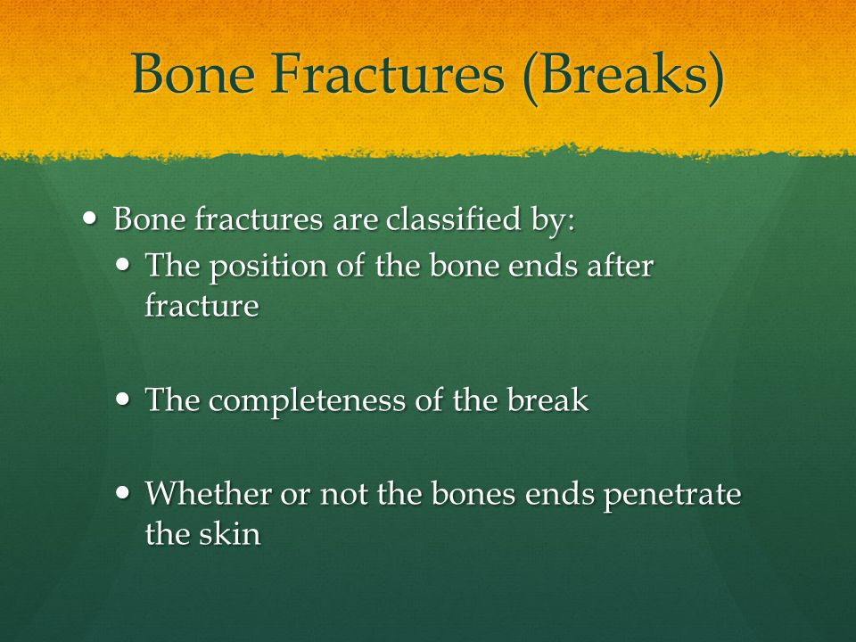 Bone Fractures (Breaks) Bone fractures are classified by: Bone fractures are classified by: The position of the bone ends after fracture The position