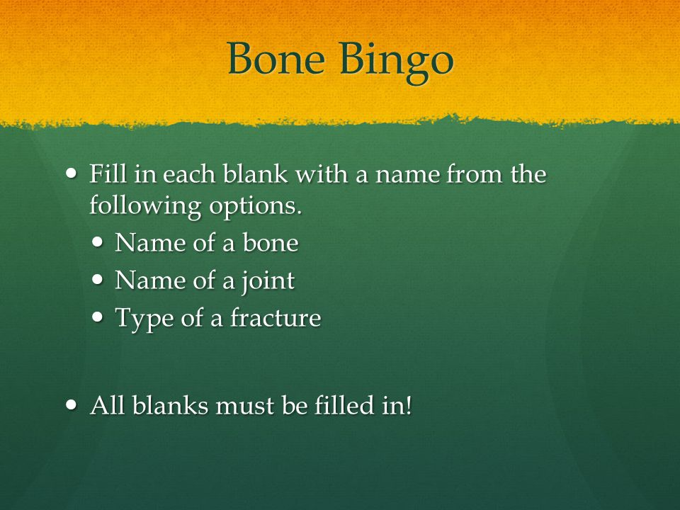 Bone Bingo Fill in each blank with a name from the following options. Fill in each blank with a name from the following options. Name of a bone Name o