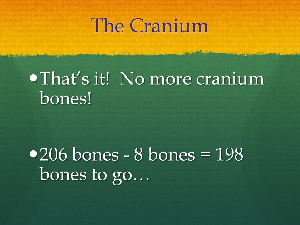 The Cranium That's it! No more cranium bones! That's it! No more cranium bones! 206 bones - 8 bones = 198 bones to go… 206 bones - 8 bones = 198 bones