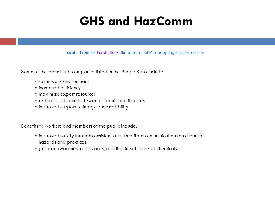GHS and HazComm cont.