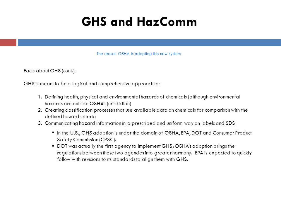 GHS Standardizes: 1.Hazard classification 2.