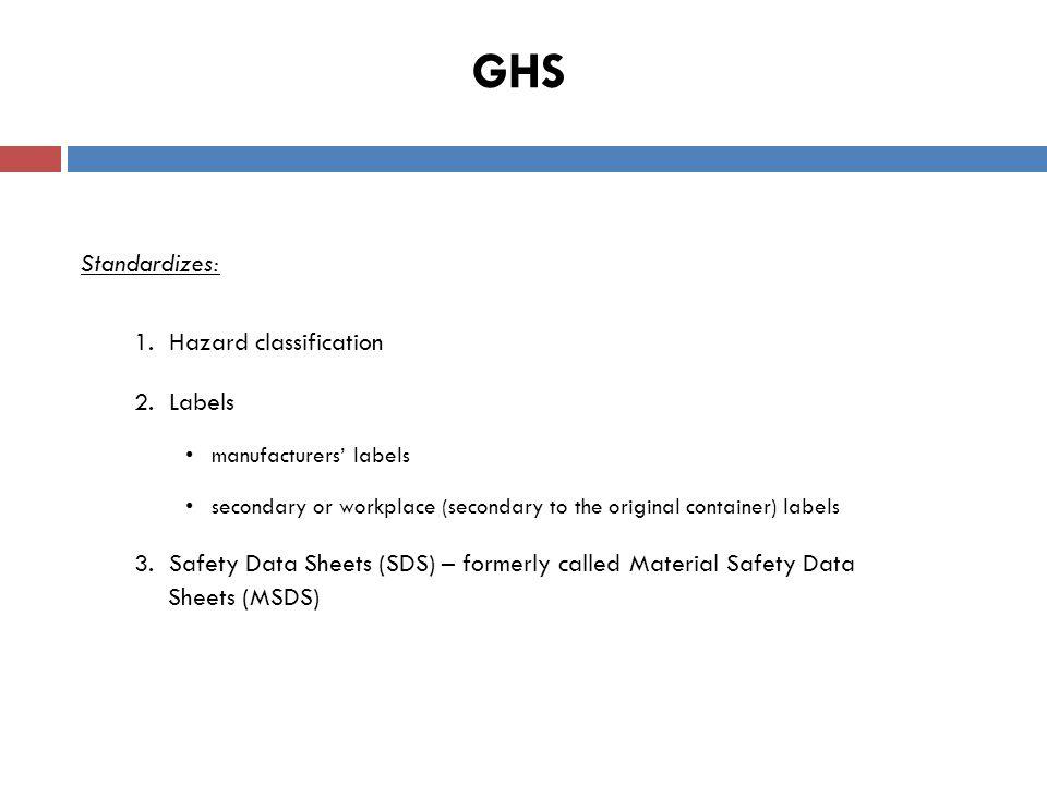 GHS Standardizes: 1. Hazard classification 2.