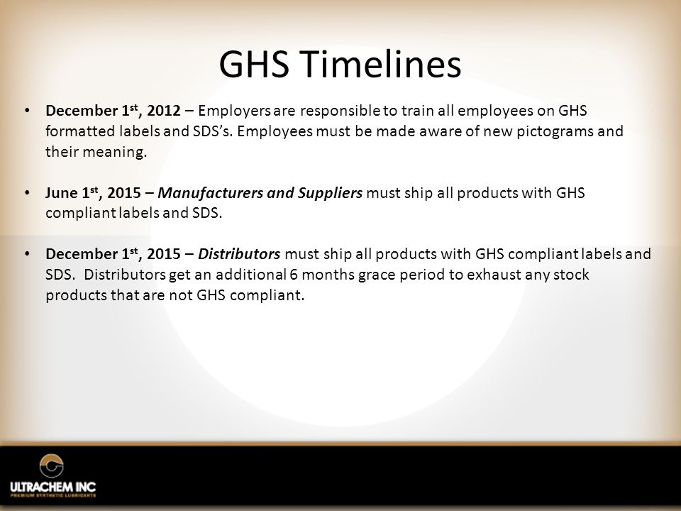GHS Timelines December 1 st, 2012 – Employers are responsible to train all employees on GHS formatted labels and SDS's.