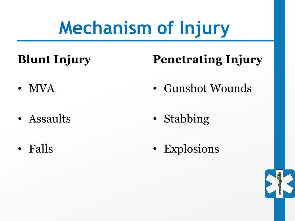 Mechanism of Injury Blunt Injury MVA Assaults Falls Penetrating Injury Gunshot Wounds Stabbing Explosions