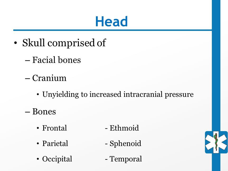 Head Skull comprised of – Facial bones – Cranium Unyielding to increased intracranial pressure – Bones Frontal- Ethmoid Parietal- Sphenoid Occipital-