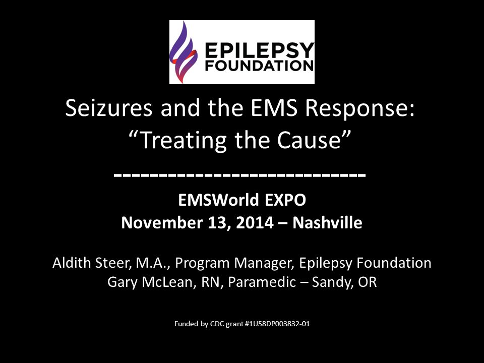 EMSWorld EXPO November 13, 2014 – Nashville Aldith Steer, M.A., Program Manager, Epilepsy Foundation Gary McLean, RN, Paramedic – Sandy, OR Funded by
