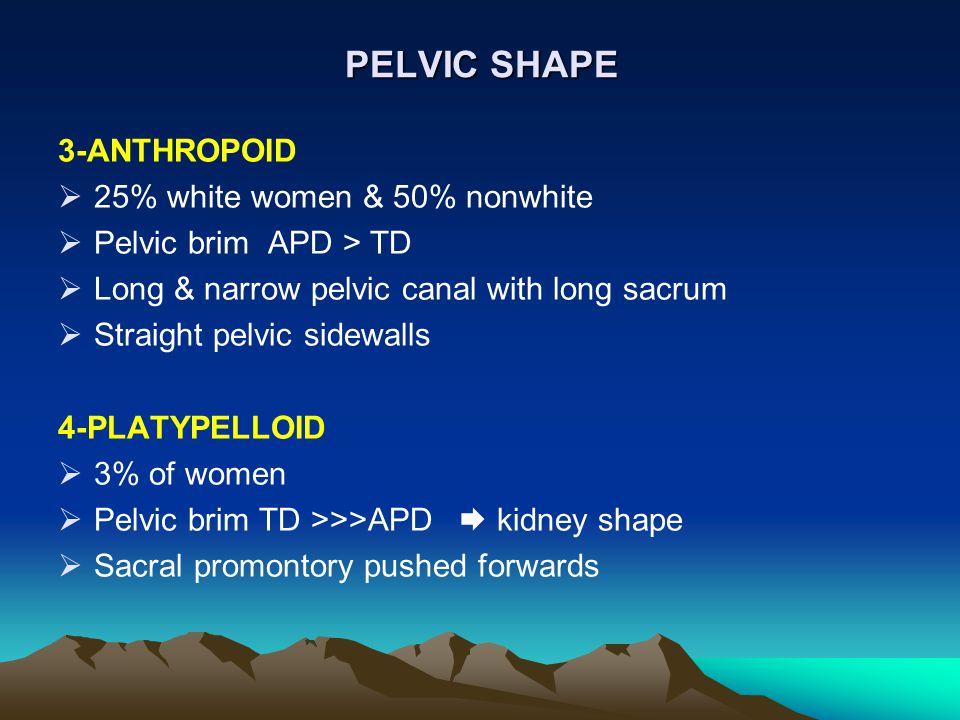 PELVIC SHAPE 3-ANTHROPOID  25% white women & 50% nonwhite  Pelvic brim APD > TD  Long & narrow pelvic canal with long sacrum  Straight pelvic side