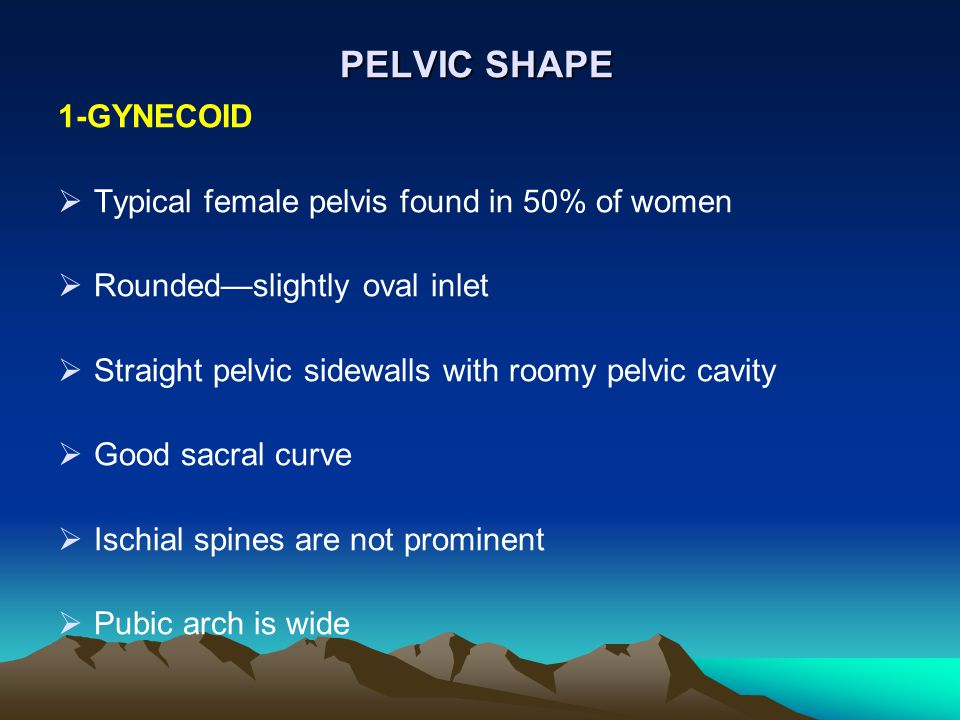 PELVIC SHAPE 1-GYNECOID  Typical female pelvis found in 50% of women  Rounded—slightly oval inlet  Straight pelvic sidewalls with roomy pelvic cavi