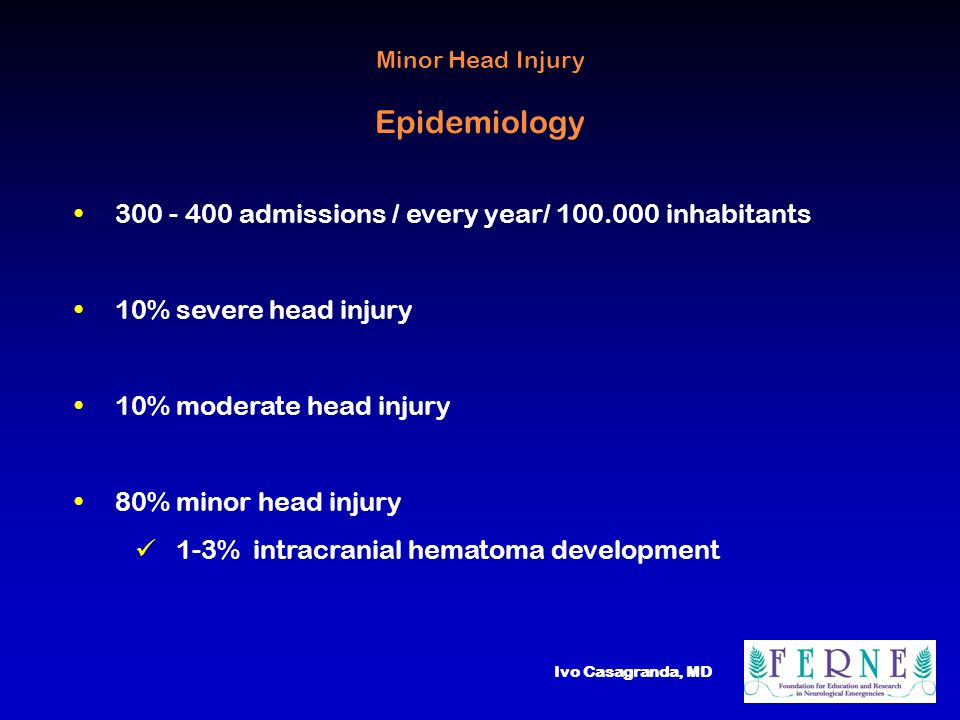 Ivo Casagranda, MD Minor Head Injury Epidemiology 300 - 400 admissions / every year/ 100.000 inhabitants 10% severe head injury 10% moderate head injury 80% minor head injury 1-3% intracranial hematoma development