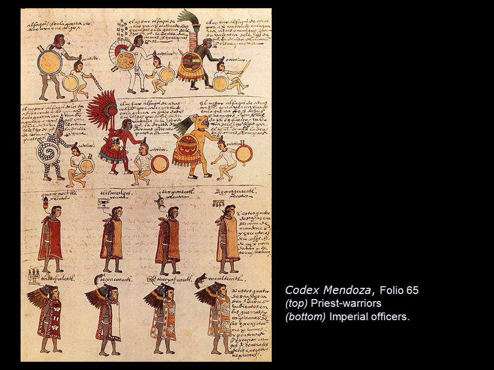 Codex Mendoza tribute list.The Aztecs received tribute from 371 city states.