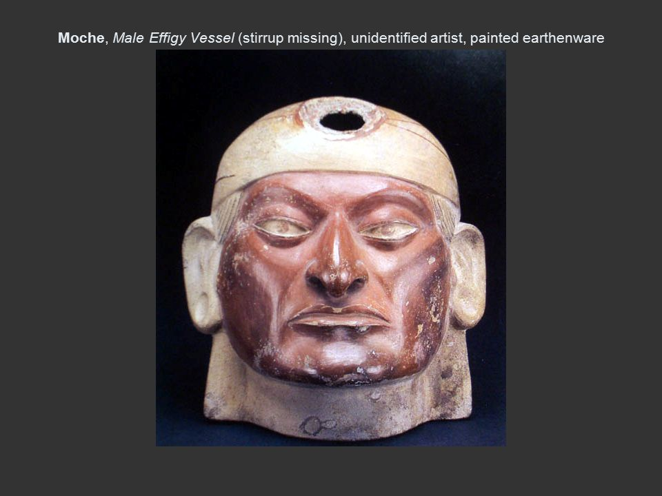 Moche, Male Effigy Vessel (stirrup missing), unidentified artist, painted earthenware 4 in H, A.C. 100-600