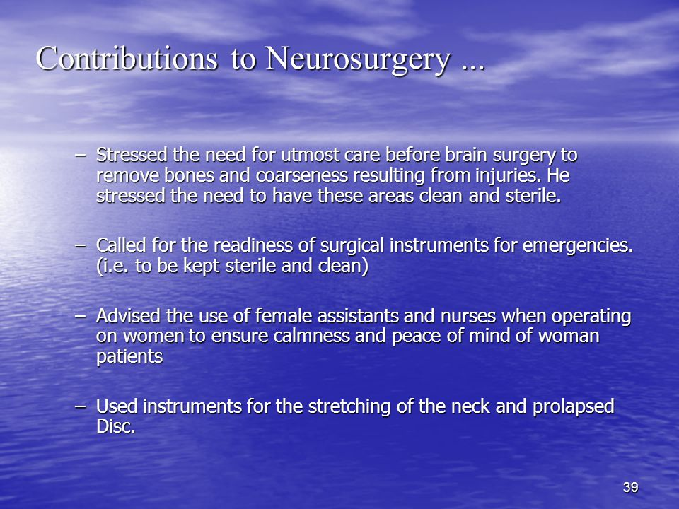 39 Contributions to Neurosurgery...