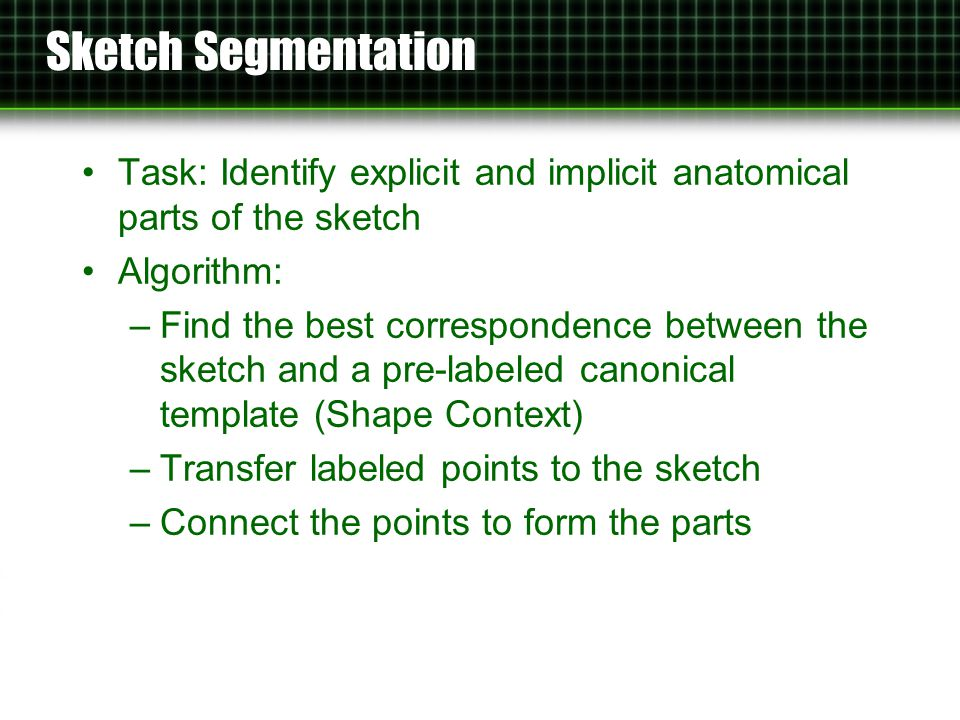 Sketch Segmentation Task: Identify explicit and implicit anatomical parts of the sketch Algorithm: –Find the best correspondence between the sketch and a pre-labeled canonical template (Shape Context) –Transfer labeled points to the sketch –Connect the points to form the parts