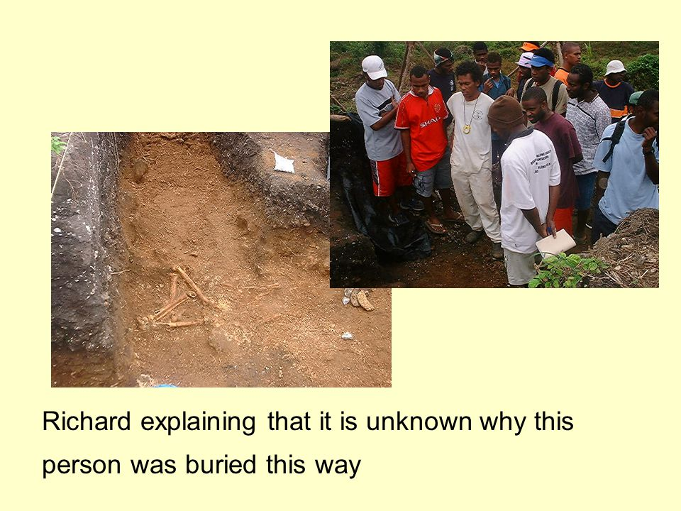 Richard explaining that it is unknown why this person was buried this way