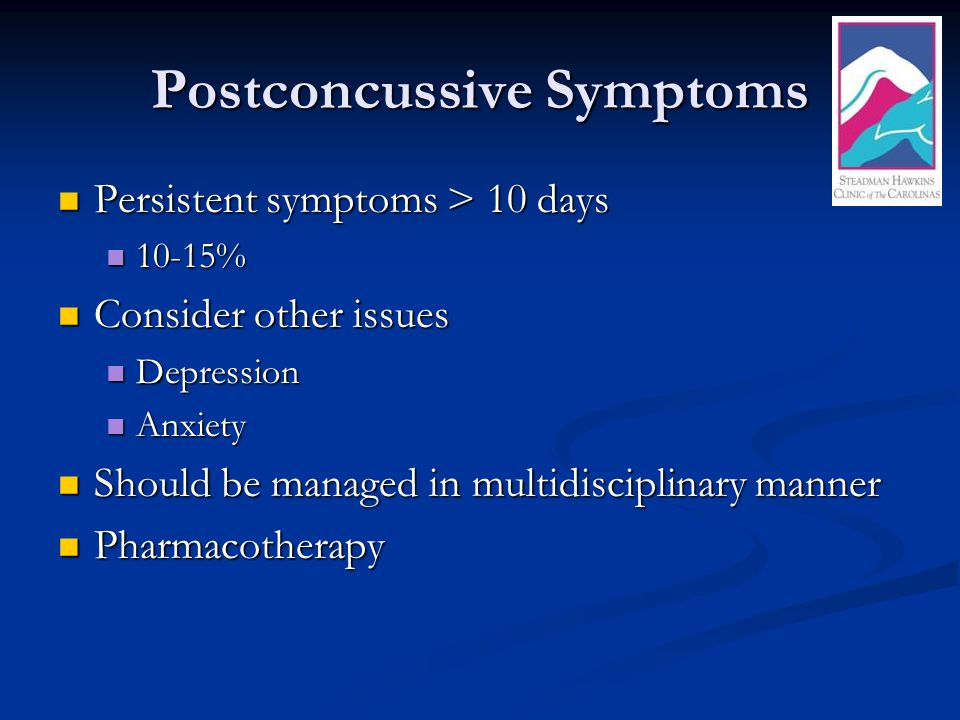 Postconcussive Symptoms Persistent symptoms > 10 days Persistent symptoms > 10 days 10-15% 10-15% Consider other issues Consider other issues Depressi