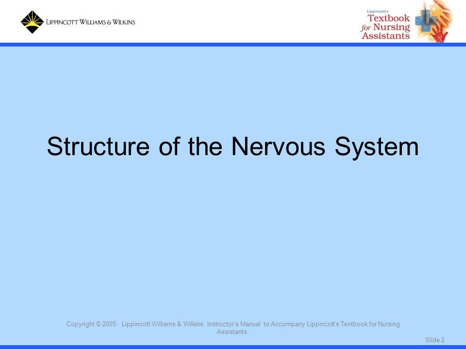 Slide 2 Copyright © 2005. Lippincott Williams & Wilkins. Instructor's Manual to Accompany Lippincott's Textbook for Nursing Assistants. Structure of t