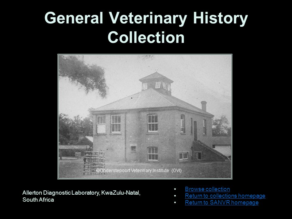 General Veterinary History Collection Browse collection Return to collections homepage Return to SANVR homepage Allerton Diagnostic Laboratory, KwaZulu-Natal, South Africa