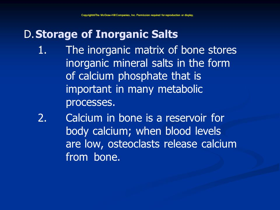 D.Storage of Inorganic Salts 1.The inorganic matrix of bone stores inorganic mineral salts in the form of calcium phosphate that is important in many metabolic processes.