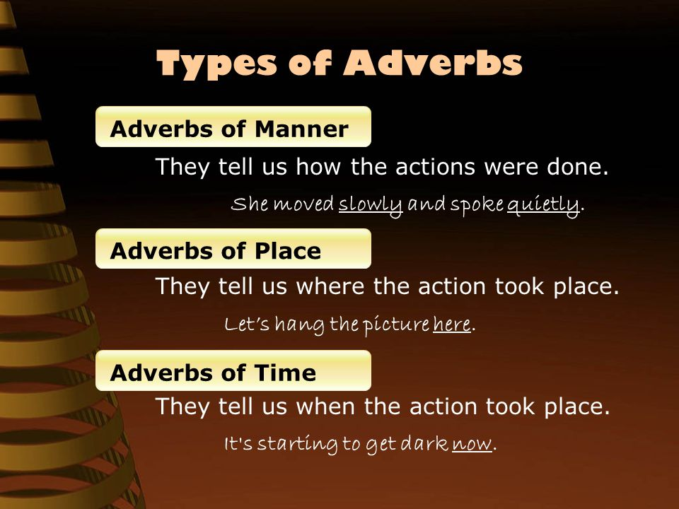 Types of Adverbs They tell us how often the situation occurred.