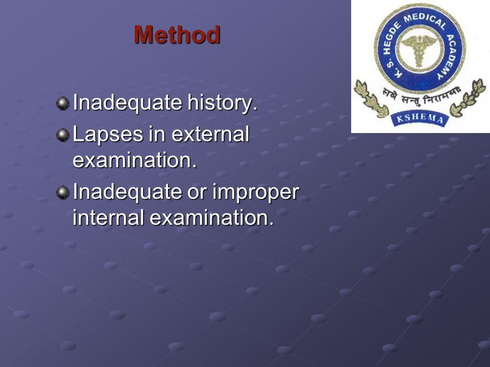 Method Method Inadequate history. Lapses in external examination. Inadequate or improper internal examination.