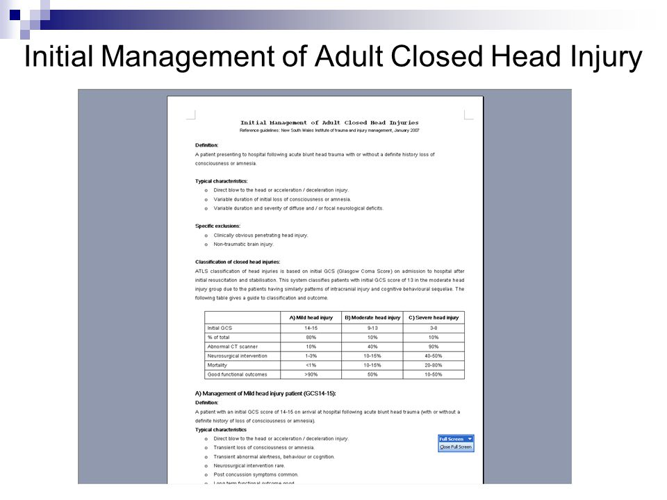 Initial Management of Adult Closed Head Injury