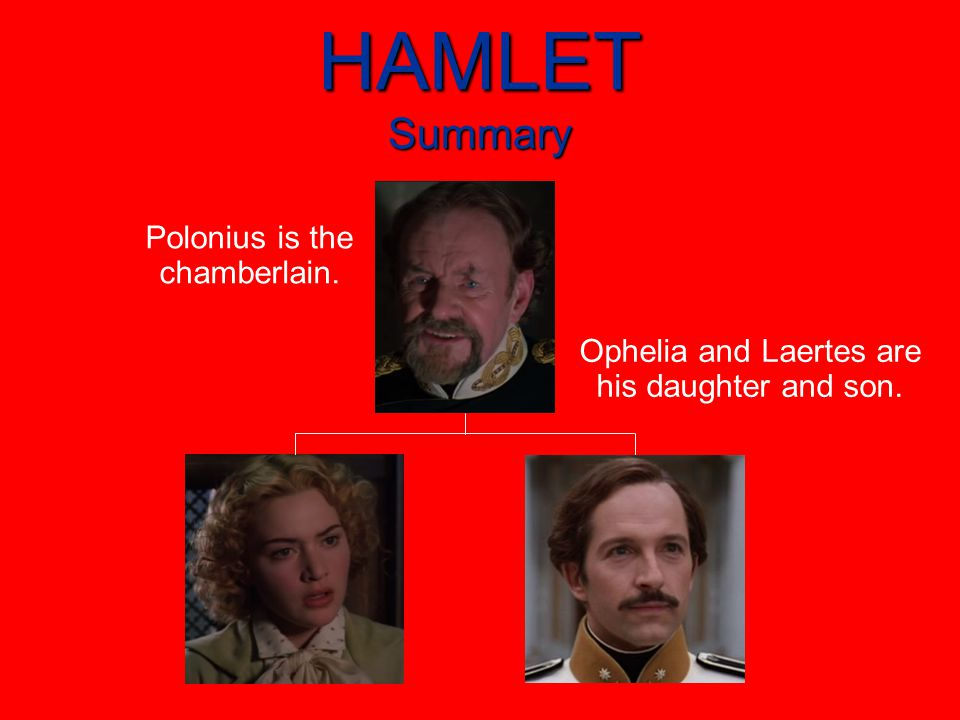 HAMLET Summary Polonius is the chamberlain. Ophelia and Laertes are his daughter and son.