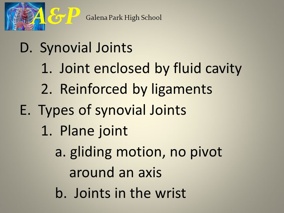 D. Synovial Joints 1. Joint enclosed by fluid cavity 2. Reinforced by ligaments E. Types of synovial Joints 1. Plane joint a. gliding motion, no pivot