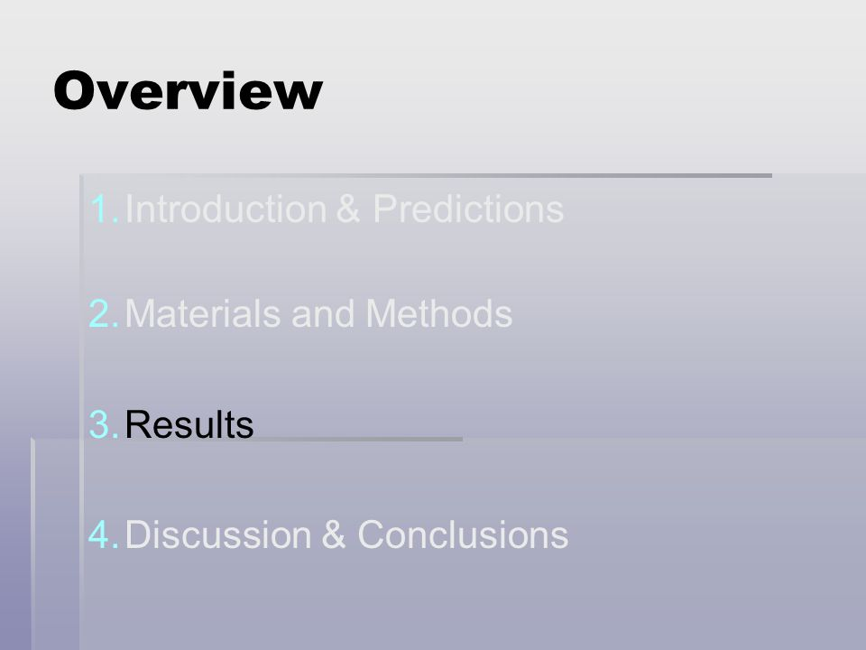 Overview 1. 1.Introduction & Predictions 2. 2.Materials and Methods 3.