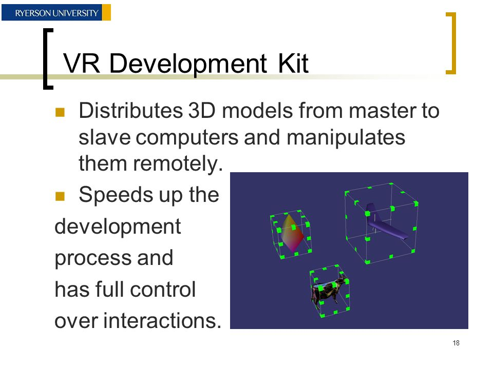 VR Development Kit Distributes 3D models from master to slave computers and manipulates them remotely.