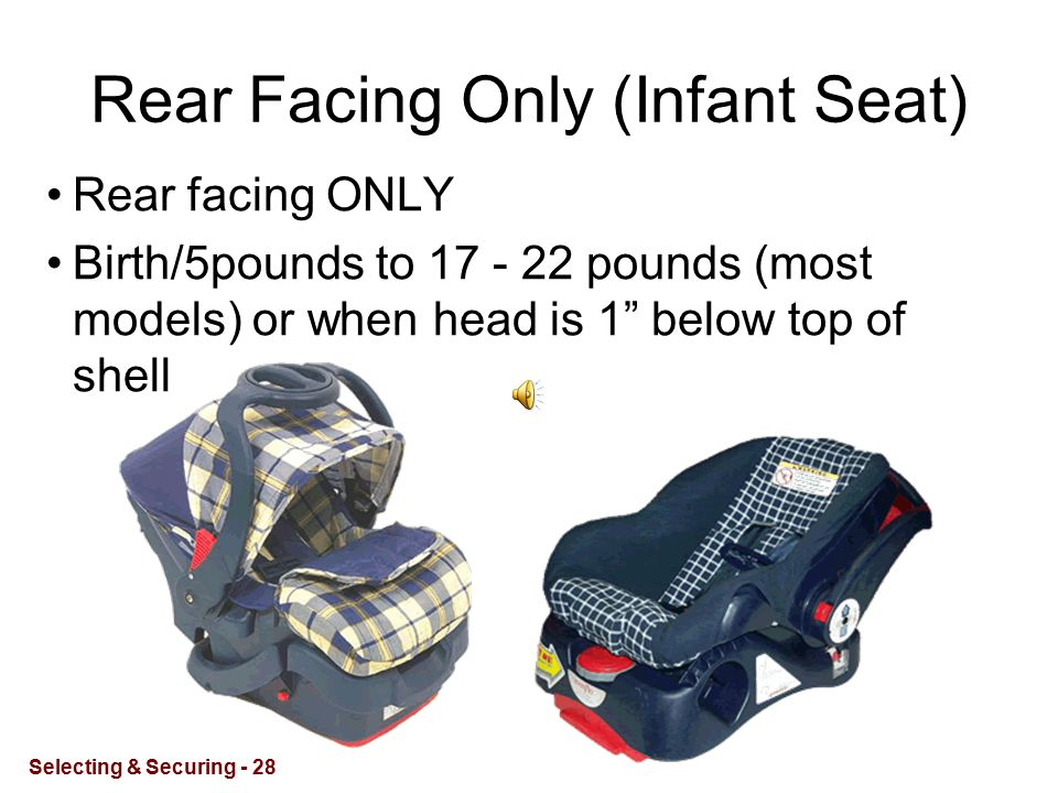 Rear Facing Only (Infant Seat) Rear facing ONLY Birth/5pounds to 17 - 22 pounds (most models) or when head is 1 below top of shell Selecting & Securing - 28