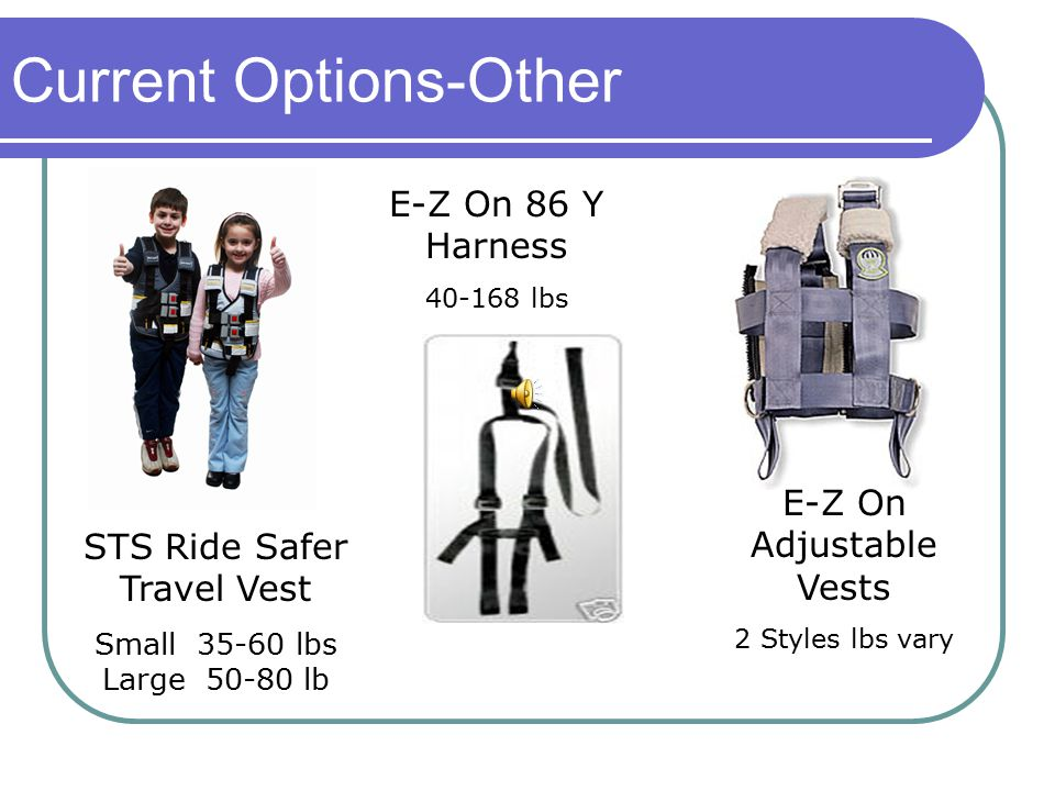 STS Ride Safer Travel Vest Small 35-60 lbs Large 50-80 lb E-Z On Adjustable Vests 2 Styles lbs vary E-Z On 86 Y Harness 40-168 lbs Current Options-Other