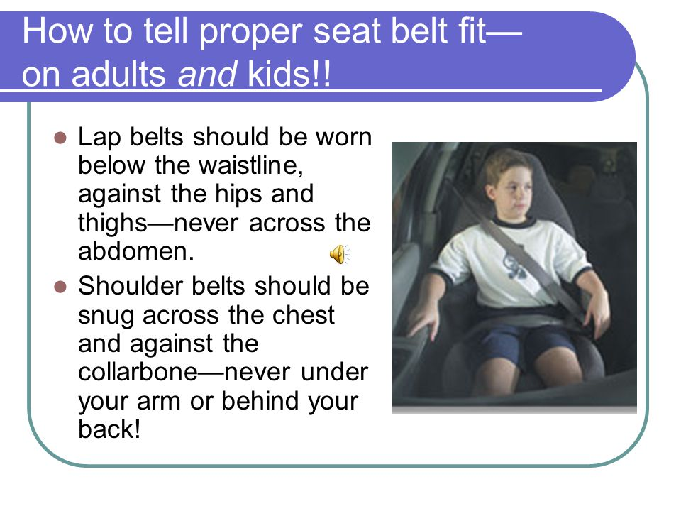 How to tell proper seat belt fit— on adults and kids!.