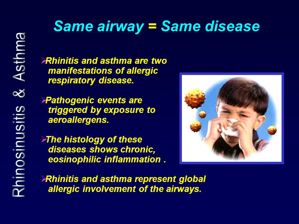 Same airway = Same disease  Rhinitis and asthma are two manifestations of allergic respiratory disease.  Pathogenic events are triggered by exposure