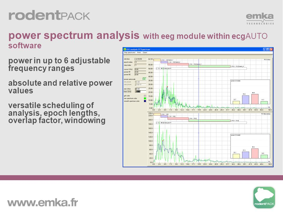 power in up to 6 adjustable frequency ranges absolute and relative power values versatile scheduling of analysis, epoch lengths, overlap factor, windo