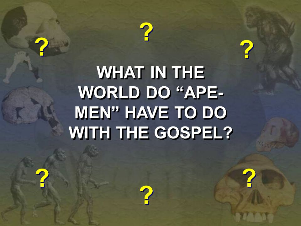 """WHAT IN THE WORLD DO """"APE- MEN"""" HAVE TO DO WITH THE GOSPEL? WHAT IN THE WORLD DO """"APE- MEN"""" HAVE TO DO WITH THE GOSPEL? ? ? ? ? ? ? ? ? ? ? ? ?"""