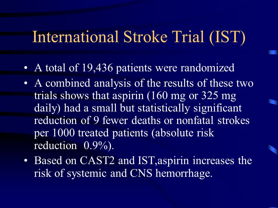 International Stroke Trial (IST) A total of 19,436 patients were randomized A combined analysis of the results of these two trials shows that aspirin (160 mg or 325 mg daily) had a small but statistically significant reduction of 9 fewer deaths or nonfatal strokes per 1000 treated patients (absolute risk reduction 0.9%).