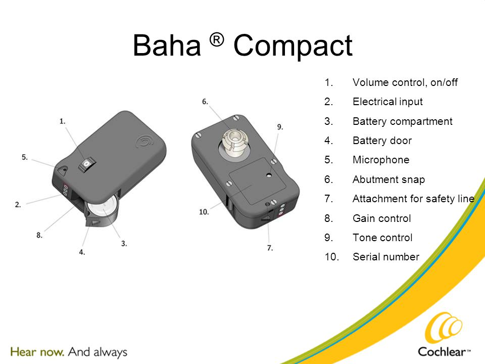Baha ® Compact 1.Volume control, on/off 2.Electrical input 3.Battery compartment 4.Battery door 5.Microphone 6.Abutment snap 7.Attachment for safety line 8.Gain control 9.Tone control 10.Serial number