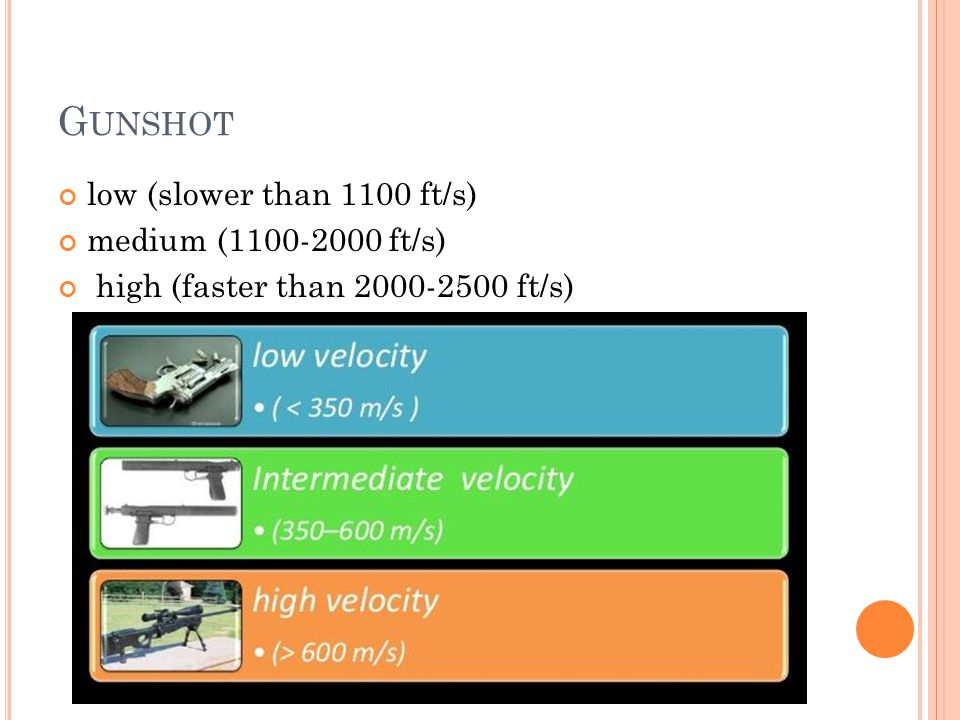 G UNSHOT low (slower than 1100 ft/s) medium (1100-2000 ft/s) high (faster than 2000-2500 ft/s)